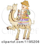 Cartoon Of A Happy Red Haired Girl Riding A Camel Royalty Free Vector Clipart