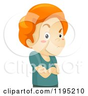 Cartoon Of A Stubborn Red Haired Boy With Folded Arms Royalty Free Vector Clipart