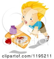 Cartoon Of A Blond Boy Tripping And Dropping His Lunch Royalty Free Vector Clipart