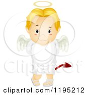 Cartoon Of A Deceitful Blond Angel Boy With A Devil Tail Royalty Free Vector Clipart by BNP Design Studio