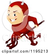Cartoon Of A Grinning Devil Boy Holding A Pitchfork Royalty Free Vector Clipart by BNP Design Studio
