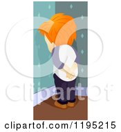 Cartoon Of A Red Haired Boy On Time Out In A Corner Royalty Free Vector Clipart by BNP Design Studio