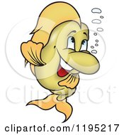 Cartoon Of A Happy Golden Fish With Bubbles Royalty Free Vector Clipart by dero