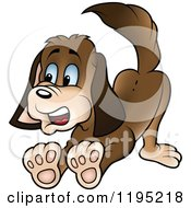 Cartoon Of A Scared Puppy Halting Royalty Free Vector Clipart by dero