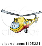 Cartoon Of A Happy Yellow And Red Helicopter Royalty Free Vector Clipart
