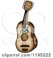 Cartoon Of A Sad Blue Eyed Guitar Royalty Free Vector Clipart by dero