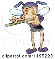 Cartoon Of A Bug Playing A Flute Royalty Free Vector Clipart