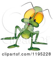 Cartoon Of A Curious Green Beetle Royalty Free Vector Clipart