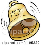 Cartoon Of A Happy Bell Ringing Royalty Free Vector Clipart