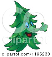 Cartoon Of A Happy Evergreen Tree Holding Two Thumbs Up Royalty Free Vector Clipart