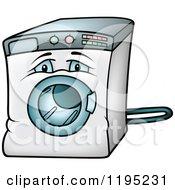 Cartoon Of A Sad Front Loader Washing Machine Royalty Free Vector Clipart