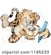 Cartoon Of A Leopard Laying On His Tummy And Drawing Royalty Free Vector Clipart