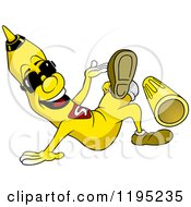 Cartoon Of A Happy Yellow Marker Wearing Sunglasses And Kicking Off His Cap Royalty Free Vector Clipart by dero