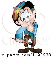 Cartoon Of A Painter Thinking Royalty Free Vector Clipart by dero