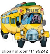 Cartoon Of A Man Driving A Bus With Luggage On Top Royalty Free Vector Clipart