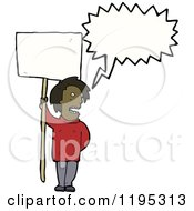 Cartoon Of A Black Man With A Sign Speaking Royalty Free Vector Illustration