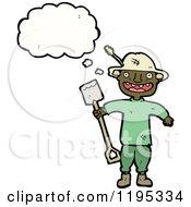 Cartoon Of A Gardener Digging Royalty Free Vector Illustration by lineartestpilot