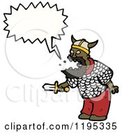 Cartoon Of A Black Viking Royalty Free Vector Illustration by lineartestpilot