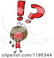 Cartoon Of A Black Stick Person With Punctuation Marks Royalty Free Vector Illustration