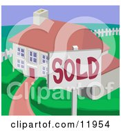 Sold Residential Home Clipart Illustration