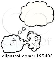 Cartoon Of A Blowing Cloud Thinking Royalty Free Vector Illustration by lineartestpilot