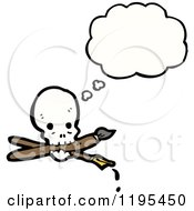 Poster, Art Print Of Skull With Pen And Paintbrush Thinking