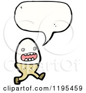Cartoon Of An Egg In An Egg Cup Speaking Royalty Free Vector Illustration