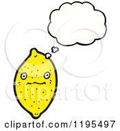 Cartoon Of A Lemon Thinking Royalty Free Vector Illustration