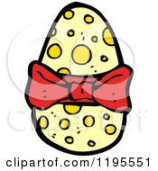 Cartoon Of An Egg Wrapped In A Bow Royalty Free Vector Illustration