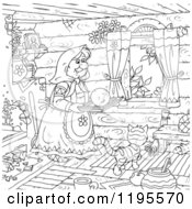 Cartoon Of An Outlined Woman Carrying A Smiley On A Tray Over A Cat In A Cabin Royalty Free Clipart