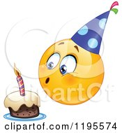 Cartoon Of A Birthday Emoticon Smiley Blowing Out A Candle On A Cake Royalty Free Vector Clipart