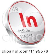 Clipart Of A 3d Floating Round Red And Silver Indium Chemical Element Icon Royalty Free Vector Illustration