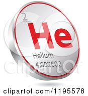 Clipart Of A 3d Floating Round Red And Silver Helium Chemical Element Icon Royalty Free Vector Illustration