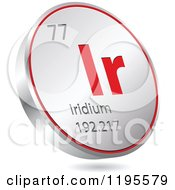 Clipart Of A 3d Floating Round Red And Silver Iridium Chemical Element Icon Royalty Free Vector Illustration