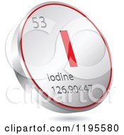 Clipart Of A 3d Floating Round Red And Silver Iodine Chemical Element Icon Royalty Free Vector Illustration