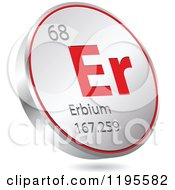 Clipart Of A 3d Floating Round Red And Silver Erbium Chemical Element Icon Royalty Free Vector Illustration