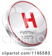 Clipart Of A 3d Floating Round Red And Silver Hydrogen Chemical Element Icon Royalty Free Vector Illustration