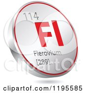 Clipart Of A 3d Floating Round Red And Silver Flerovium Chemical Element Icon Royalty Free Vector Illustration