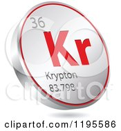 Clipart Of A 3d Floating Round Red And Silver Krypton Chemical Element Icon Royalty Free Vector Illustration