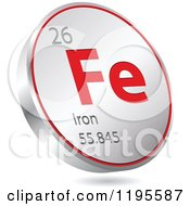 Clipart Of A 3d Floating Round Red And Silver Iron Chemical Element Icon Royalty Free Vector Illustration