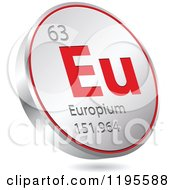 Clipart Of A 3d Floating Round Red And Silver Europium Chemical Element Icon Royalty Free Vector Illustration