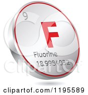 Clipart Of A 3d Floating Round Red And Silver Flourine Chemical Element Icon Royalty Free Vector Illustration