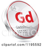 Clipart Of A 3d Floating Round Red And Silver Gadoliuium Chemical Element Icon Royalty Free Vector Illustration