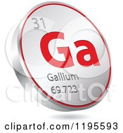Clipart Of A 3d Floating Round Red And Silver Gallium Chemical Element Icon Royalty Free Vector Illustration