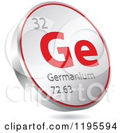 Clipart Of A 3d Floating Round Red And Silver Germanium Chemical Element Icon Royalty Free Vector Illustration