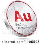 Clipart Of A 3d Floating Round Red And Silver Gold Chemical Element Icon Royalty Free Vector Illustration