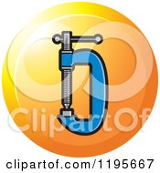 Clipart Of A Round G Clamp Tool Icon Royalty Free Vector Illustration