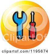 Clipart Of A Round Spanner And Screwdriver Tool Icon Royalty Free Vector Illustration
