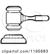 Clipart Of A Black And White Gavel Royalty Free Vector Illustration