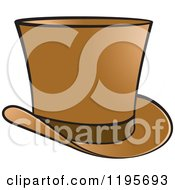 Clipart Of A Brown Top Hat Royalty Free Vector Illustration by Lal Perera